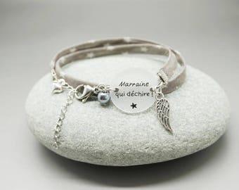 """bracelet liberty cabochon """"Marraine qui déchire"""" ange coeur personnalisable"""
