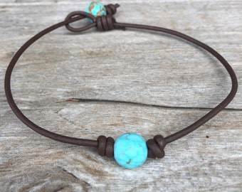 Leather and Turquoise Anklet - Leather and Turquoise Jewelry - Leather Anklet