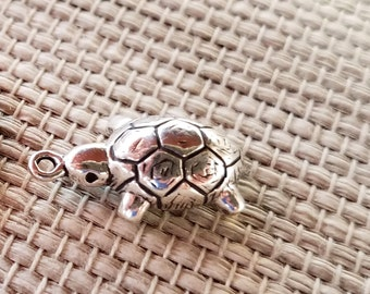 Sterling Silver TURTLE Tortoise Charm or Pendant, Detailed 3D - Animals Reptiles