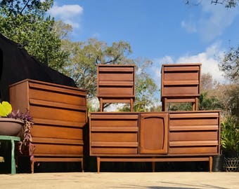 SOLD but we have more! Mid Century Dresser Credenza by StyleHouse, Danish Modern Walnut Dresser, Danish Credenza Sideboard