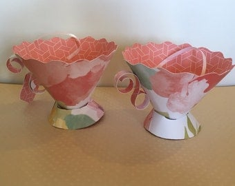 Paper tea cups, birthday party favors, bridal shower tea party, party tea cups, tea party favors, tea cup decorations, baby shower
