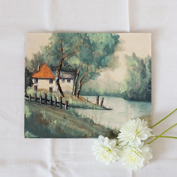 French Lakeside Gouache Painting