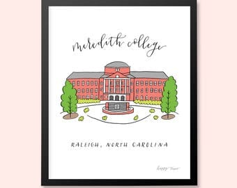 Meredith College Johnson Hall | North Carolina | Art Print