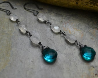 Teal Blue Quartz & Moonstone Earrings