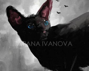 Blue Eyes Art Print, Cat Painting
