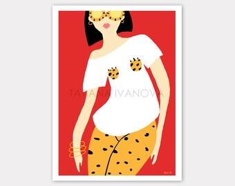 Leopard Art Print, Fashion Illustration, Glamour Art