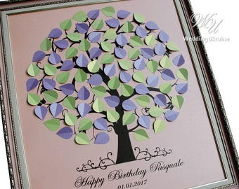 Personalized Birthday Guest Book idea - GuestBook Alternative - Birthday gift ideas - Anniversary gift idea up to 100 guests and wishes