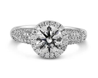 0.63ct Side Diamonds in 14K White Gold Semi Mount Filigree Halo Engagement Ring (NO CENTER STONE)