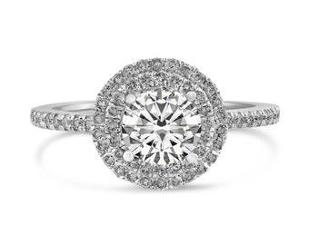 0.42ct Side Diamonds in 14K White Gold Semi Mount Filigree Double Halo Ring (NO CENTER STONE)