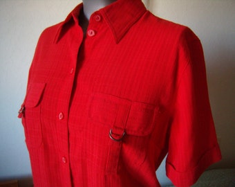 Red blouse, short sleeve, Vintage, woman, size M/38-40