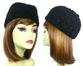 Sheep Hat Karakul Cap Russian Hat Sheep Fur Hat Lamb Hat Cocktail Hat Vintage 1990s Hat Black Hat Lamb Fur Hat