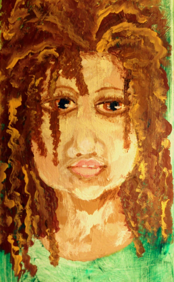 "Acrylic Painting on 14 x 7"" canvas, ""CHARITY,"" Outsider Folk Art, a young Jamaican girl, by African American Artist Stacey Torres"