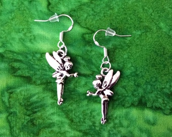 50% SALE Tinkerbell Earrings..Disney Princess Earrings..Disney Earrings..Fairy Earrings..Peter Pan Jewelry..925 Silver Wires FREE SHIPPING