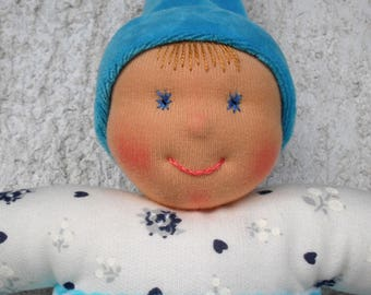Personalized baby doll in Waldorf style, Handmade rag doll for baby boy, Organic Baby shower gift, First Birthday gift