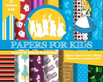 Digital Papers, Alice in Wonderland, Birthday, Clipart, Background, Papers for kids