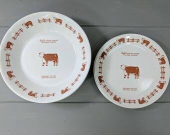 2 Vintage Rod's SteakHouse Syracuse China Salad Bowls & Saucers, Steakhouse Restaurantware, Williams AZ, Gateway to the Grand Canyon
