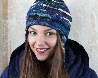 upcycling fulled loden beanie blue twenties