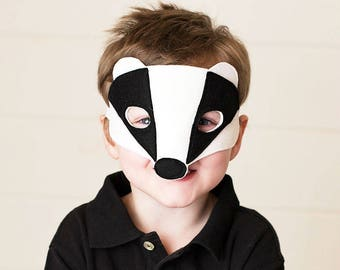 Badger Mask - Woodland Mask - Animal Mask - Badger Costume - Woodland Animal Party - Animal Costume - Animal Disguise - Felt Mask