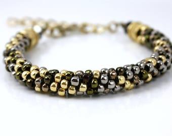 Mixed Metal Bracelet - Gold Bracelet -Beaded Kumihimo Bracelet - Adjustable Bracelet - Mothers Day Gift - Stacking Bracelet- Beaded Bracelet