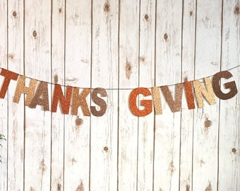 Glitter thanks giving banner / home decor / wall decor / decoration / banner / fall / give thanks / glitter / hand made