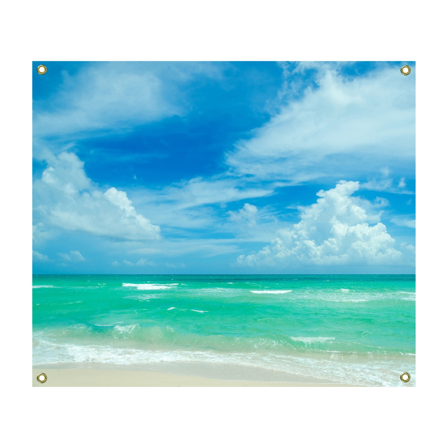 Tropical Beach And Peaceful Ocean: Miami Ocean Wall Tapestry Tropical Beach Cottage Decor Blue