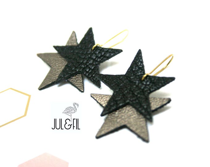 Black leather and bronze stars earrings, brass