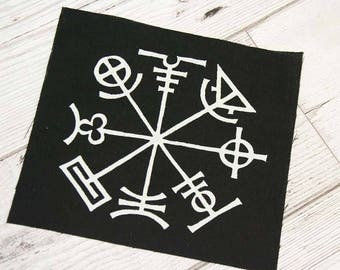 Occult patch - Icelandic stave, prevents you from getting lost viking symbols, pagan patches, witchy patch, voodoo, screen printed patch