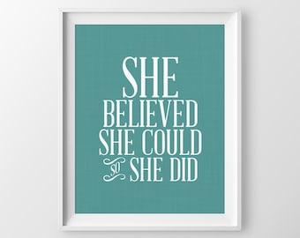 She Believed She Could So She Did Girls Nursery Decor Inspirational Nursery Print Nursery Wall Art Nursery Quote Inspirational Print