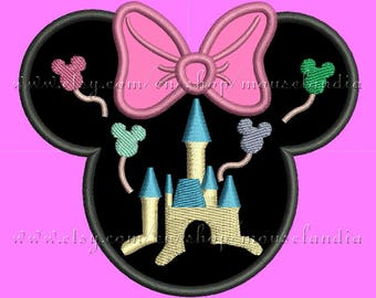 Cute miss mouse Castle Filled Head Applique Design  3 sizes 4X4, 5X7 and 6X10 Instant Download