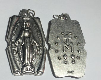 Madonna Miraculous Medals Double sided ITALY Set of 2 for Charm Bracelet or Pendant Virgin Mary