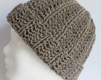 beanie, hat, wooly hat, beige, knitted, cotton mix
