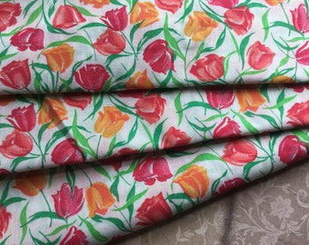 Delightful Vintage Lightweight Fabric with Tulips - Red and Orange - Wamsutta - 3 Yards