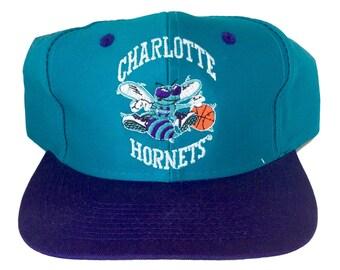 Vintage Charlotte Hornets Snapback Hat by Logo 7 Rare NBA 90s Green