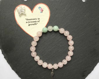 A Stylish Sterling Silver Rose Quartz, Amazonite and White Jade Eating Disorder Recovery Gemstone Charm Bracelet//Angel Wing Charm