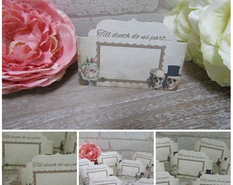 8 Skull Wedding Blank Table,Name Place cards Decoration Party,Table Decor,Food Cards