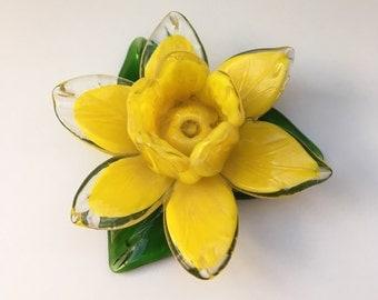 Glass Art Yellow Daffodil Flower