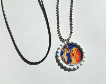 1 Disney Lady and the Tramp Bottle Cap Necklace