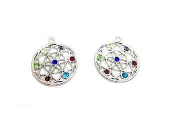2 pendants with Rhinestone rosette multicolor 40x35mm