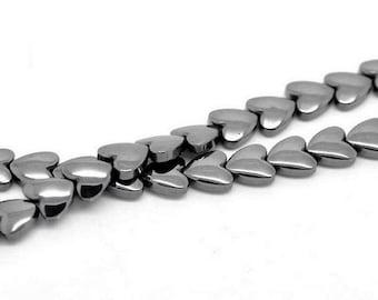 55 hearts beads Hematite
