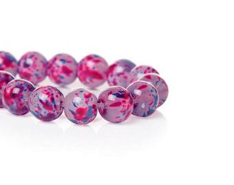 100 pink blue spotted glass 8mm beads
