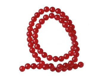 60 beads of Agate natural 6mm Red