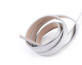 1.2 m cord faux leather flat 10 mm silver