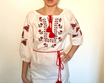 "White and red Bohemian festival Ukrainian embroidered cotton ""Vyshyvanka"" dress"