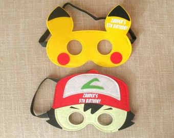 Personalized - Pokemon Masks, Pokemon Birthday Party, Pokemon Party Favors, Pokemon Go, Pokemon Costume, Pokemon Party, Pikachu