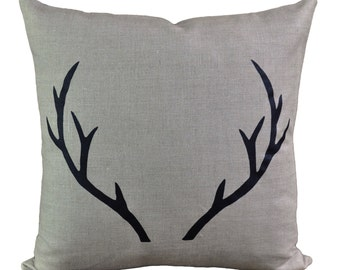 Stag Linen pillow with down insert- natural with black print.