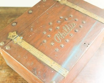 Vintage Old Wood Box with Tarnished Metal, Upcycle - Phillis