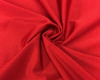 "Red Lycra Shiny Milliskin Nylon Spandex Fabric 4 Way Stretch 58"" wide Sold By The Yard"