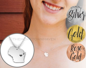 Wisconsin Necklace - Wisconsin State map necklace, I heart Wisconsin necklace