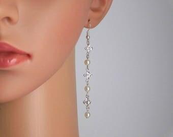 Petite Silver Flowers Pearls CZs Pierced Earrings