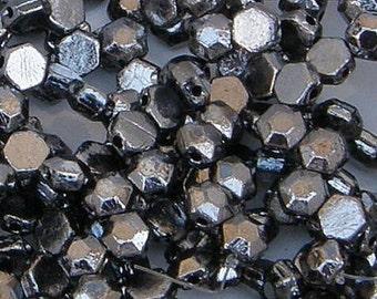 Honeycomb Jewel Bead, Chrome, 2-Hole Beads, (HCJ-00030-27400), 6mm, 30 count